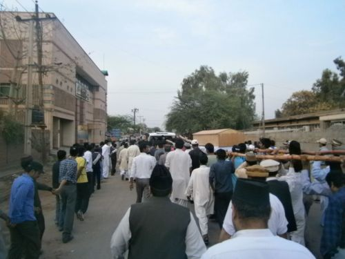 Janaza of Master Qadoos sahib being taken for burial.